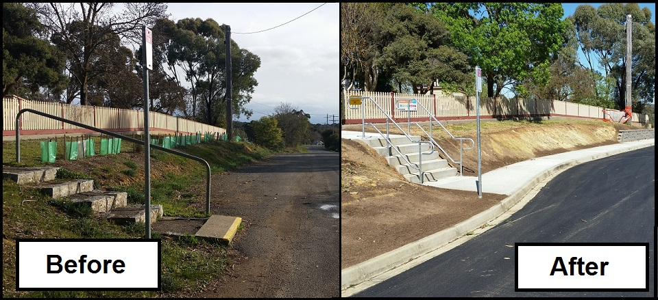 Before and after photos showing the upgraded bus bay and new footpath.