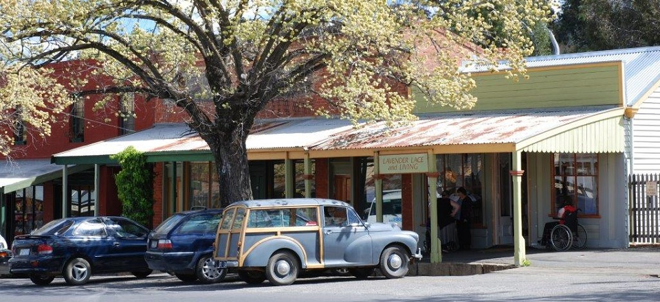 Image: Old car in heritage street in Maldon.  Link to child page: Parking and transport
