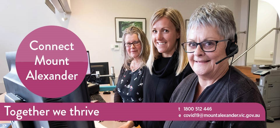 Image: Mount Alexander Shire Council staff ready to support you on the COVID-19 help line.  Link to child page: Council's response to coronavirus (COVID-19)