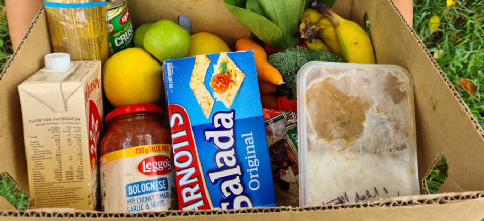 Image: Box of groceries and a prepared meal from Mount Alexander Shire Food Pantry food relief program  Link to child page: Emergency relief and food packages