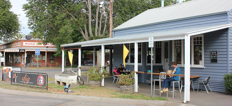 Image: People sitting outside a café in Newstead.  Link to child page: Business permit application forms