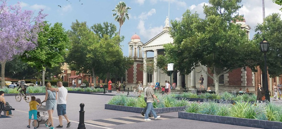 Image: Castlemaine Streetscape Plan - Artists impression of a plaza on Mostyn Street.  Link to child page: Major projects