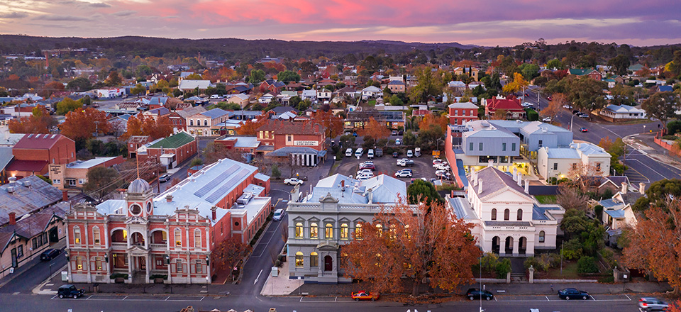 Sunset over the Castlemaine Town Hall and Civic Centre