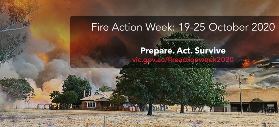 Fire Action Week (19 25 October 2020) - Prepare - Act - Survive. Image of fire approached farm house